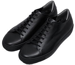 Lace-up Leather Sneakers / Full Black